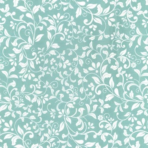 Leaf Scroll Aqua Cotton Fabric