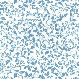 Leaf Scroll Blue Ivory Cotton Fabric