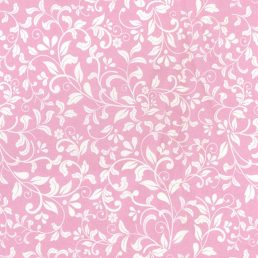 Leaf Scroll Pink Cotton Fabric