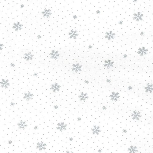 Silver Snowflake Cotton Fabric