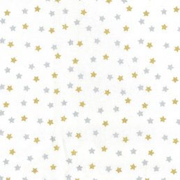 Silver and Gold Stars Cotton Fabric