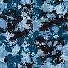 Camo Skulls Blue Cotton Fabric