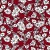 Flowers on Burgundy Cotton Fabric