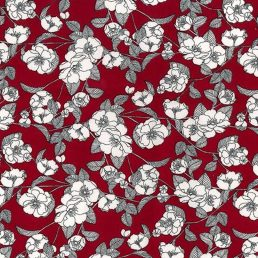 Flowers on Burgundy Cotton Fabric
