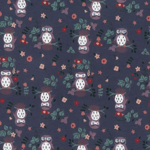 Owl Parliament Cotton Jersey Fabric