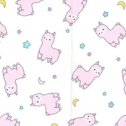 Pink Llamas Cotton Fabric