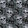 Skull and Rose Crown Black Cotton Fabric