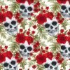 Skull and Rose Crown Ivory Cotton Fabric