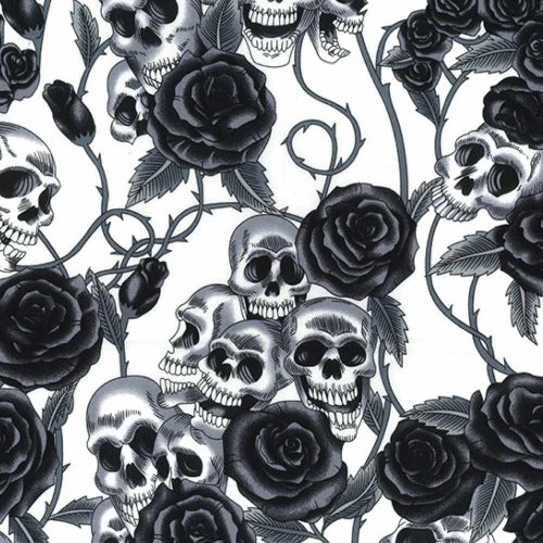 Skulls and Roses White Cotton Fabric