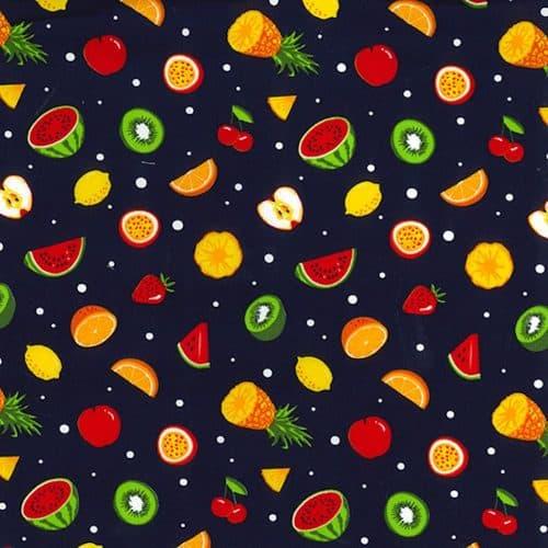 Fruit Salad on Navy Cotton Fabric