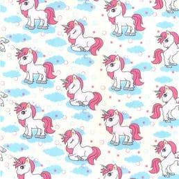 My Little Unicorn Ivory Cotton Fabric