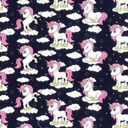 My Little Unicorn Navy Cotton Fabric
