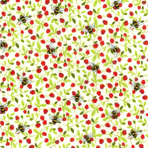 Bees and Strawberries Ivory Cotton Fabric