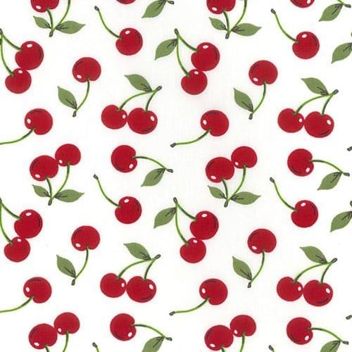 Cherries on Ivory Cotton Fabric