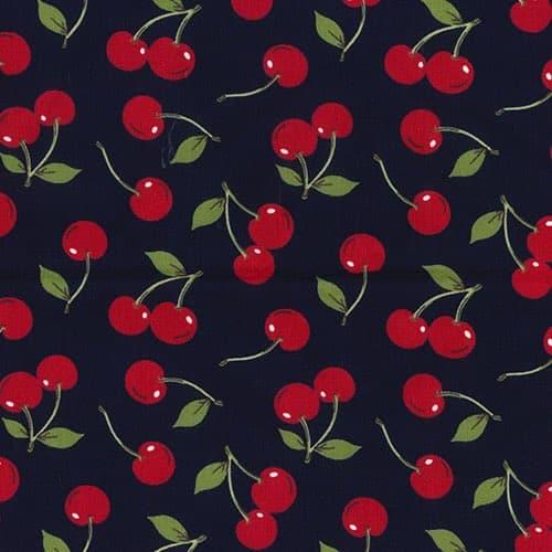 Cherries on Navy Cotton Fabric