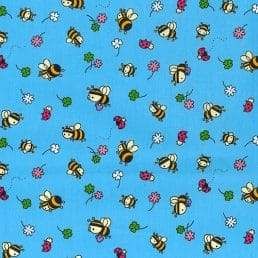 Busy Bees and Ladybugs Blue Cotton Fabric