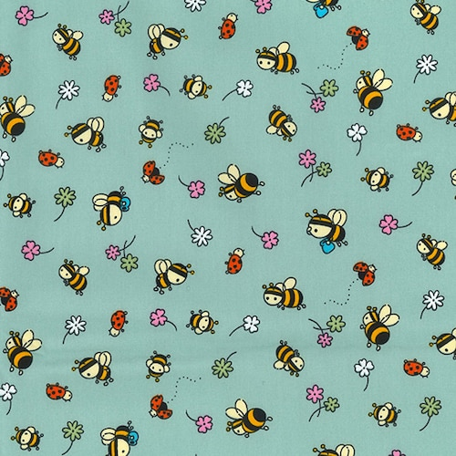 Busy Bees and Ladybugs Green Cotton Fabric
