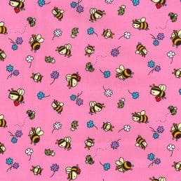 Busy Bees and Ladybugs Pink Cotton Fabric