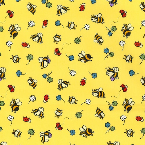 Busy Bees and Ladybugs Yellow Cotton Fabric