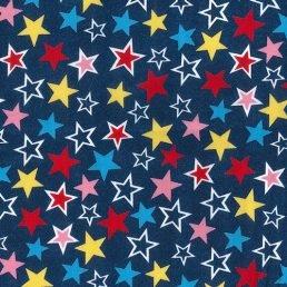Colourful Stars on Denim Cotton Fabric