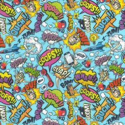 """Comic Fights on Blue Cotton Fabric (60"""" wide)"""