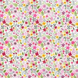 Country Blooms Pink Cotton Fabric
