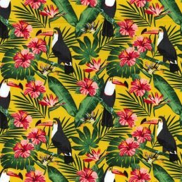 Durante of Toucans Yellow Cotton Fabric