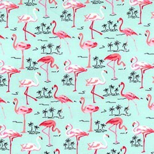 Flamingos on Green Cotton Fabric