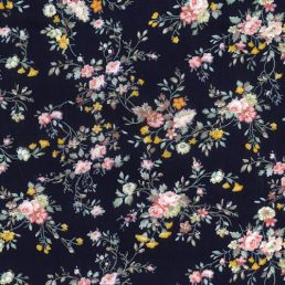 Floral Spray on Navy Cotton Fabric