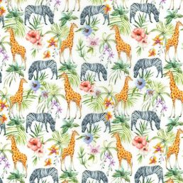 "Giraffes and Zebras Cotton Fabric (60"" wide)"
