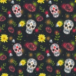 """Painted Skulls Cotton Fabric (60"""" wide)"""