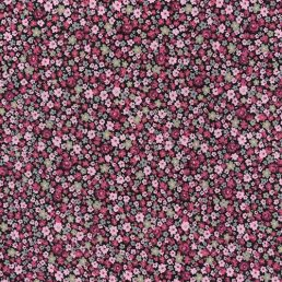 Pink Flower Stamps on Black Cotton Fabric