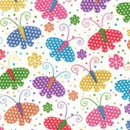 Spotty Butterflies on White PolyCotton Fabric