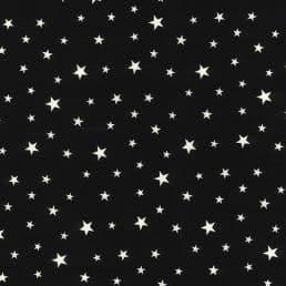 Stars on Black Cotton Fabric