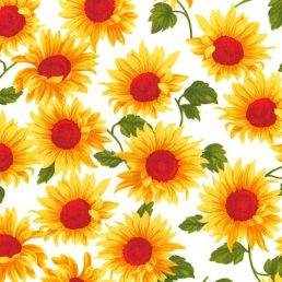 Sunkissed Blooms on Ivory Cotton Fabric