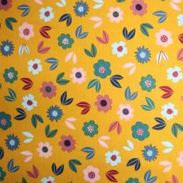 Flowers Cotton Jersey Ochre