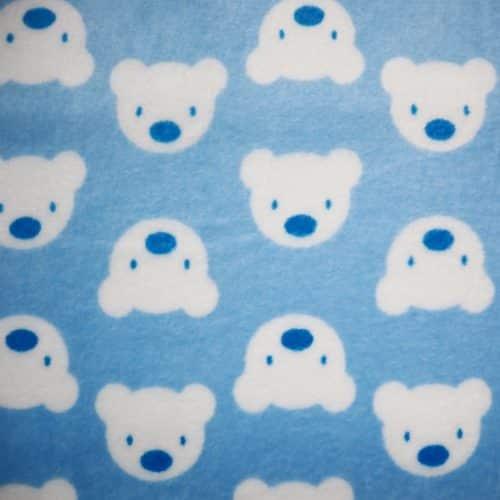 Teddy Face Plush Cuddle Fleece Sky