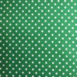 White Spots on Green PolyCotton Fabric