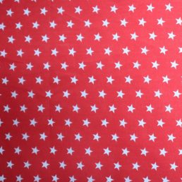 White Stars on Red PolyCotton Fabric