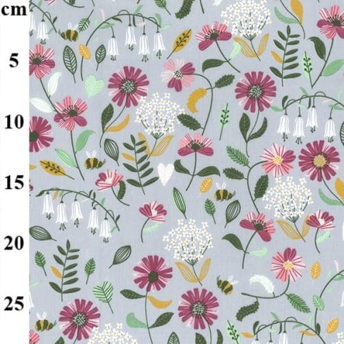 Bees and Flowers on Grey Cotton Fabric (60″ wide)