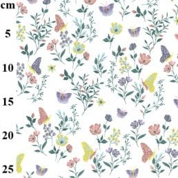 Butterflies and Flowers Cotton Jersey Ivory