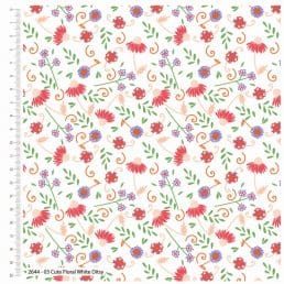 Cute Florals White Ditsy Cotton Fabric