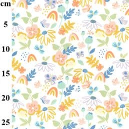 Painted Flowers Cotton Jersey Cream