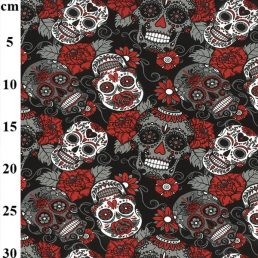 Skulls and Roses Cotton Jersey Red