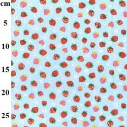 Strawberries on Sky PolyCotton Fabric