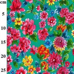 Colourful Painted Flowers Jersey Spandex Teal