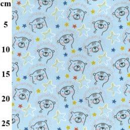 Cute Bears on Blue Cotton Flannel (Wynciette)