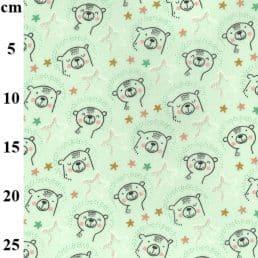 Cute Bears on Mint Cotton Flannel (Wynciette)