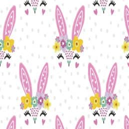 Easter Bunnies on White Cotton Fabric