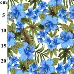 Painted Blue Flowers on Ivory Cotton Fabric